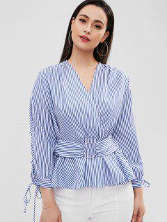 Lace Up Sleeve Striped Crossover Peplum Top - Blue M