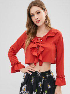 Lace Up Ruffled Cropped Blouse - Valentine Red L