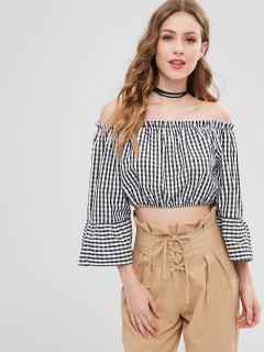 Off Shoulder Bell Sleeve Checked Blouse - Black S