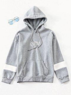 Letter Embroidered Fleece Hoodie - Smokey Gray Xs