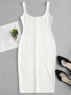 U Neck Pencil Tank Dress - White L