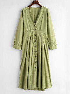 Button Up Plunge Midi Shirt Dress - Green Peas M