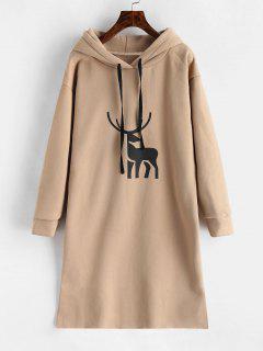 Elk Graphic Fleece Hoodie Dress - Tan