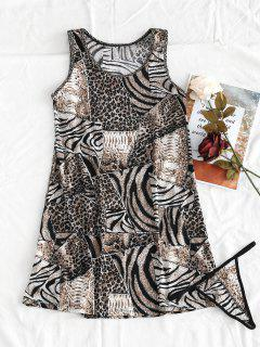 Animal Clashing Print Tank Dress With Thong Panty - Multi