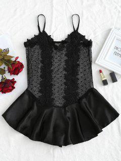 Dotted Tulle Satin Ruffle Lingerie Teddy Bodysuit - Black M