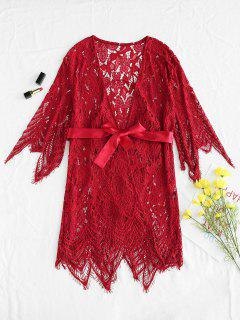 Sheer Lace Robe Bra And Panty Lingerie Set - Red