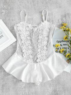 Dotted Tulle Satin Ruffle Lingerie Teddy Bodysuit - White M