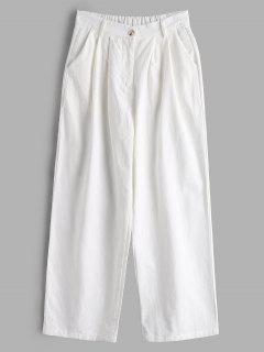 Pleated-detail High Waisted Pants - White M
