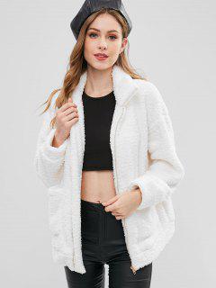 Zip Up Fluffy Faux Fur Winter Coat - White M