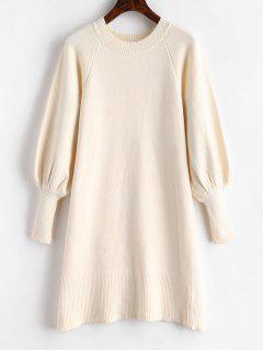 Robe Pull à Manches Lanterne - Blanc Chaud