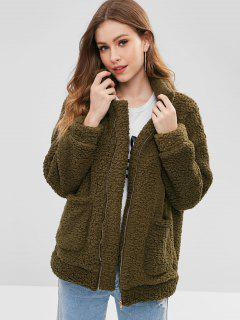 Zip Up Fluffy Faux Fur Winter Coat - Army Green L