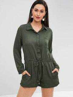 Long Sleeve Shirt Romper With Drawstring - Army Green M