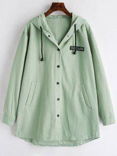 Graphic Hooded Coat - Dark Sea Green M