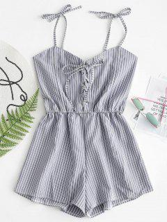 Smocked Striped Lace Up Romper - Midnight Blue M