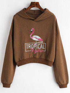 Flamingo Letter Embroidered Hoodie - Puce