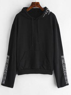 Front Pocket Embroidered Hoodie - Black