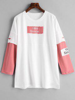Patch Graphic Tunic Sweatshirt - White S