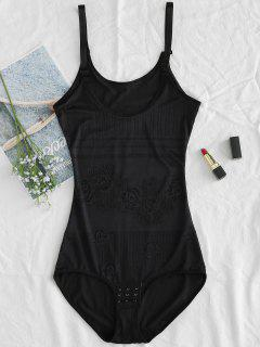 Fitted Hook And Eye Bottom Cami Bodysuit - Black Xl
