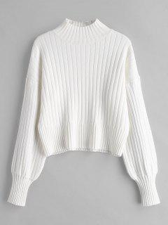 Fallengelassener Shoulder Mock Neck Sweater - Weiß
