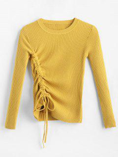 Ribbed Side Drawstring Jumper - Bright Yellow