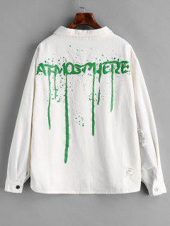Distressed Back Graphic Denim Jacket - White L