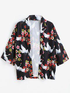 Flower Crane Kimono Style Cardigan - Black S