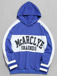 Chest Letter Striped Casual Hoodie - Light Slate Blue L