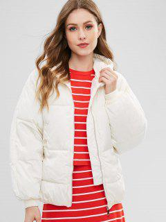 Hooded Quilted Winter Jacket - Warm White L