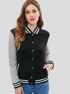 Button Front Varsity Baseball Jacket - Black S