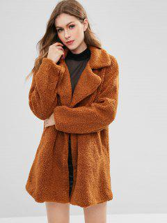 Double Breasted Fluffy Faux Fur Winter Coat - Brown M