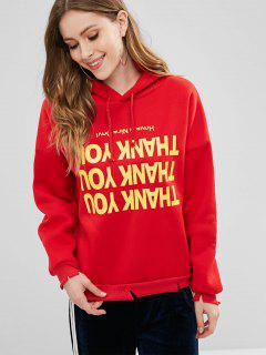 Fleece Lined Letter Graphic Pullover Hoodie - Red M