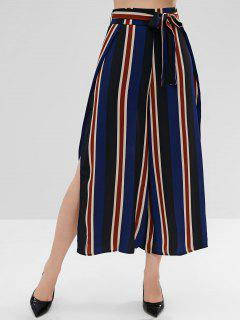 High Slit Striped Belted Pants - Deep Blue S