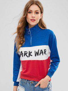Color Block Quarter Zip Sweatshirt - Multi S
