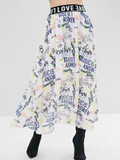 Full Printed Midi Skirt - White M