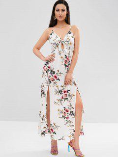 Spaghetti Strap Floral Maxi Dress - White L