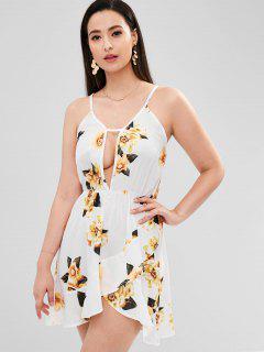 Flower Print Mini Flounce Dress - Multi L