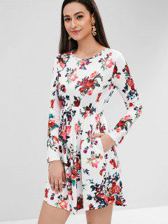 Floral Print Long Sleeve Dress - White M