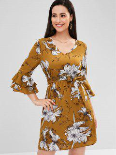 Flare Sleeve Floral Mini Dress - School Bus Yellow M