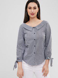 Foldover Collar Gingham Shirt - Multi M
