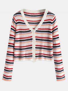 Button Up Striped Crop Cardigan - Multi