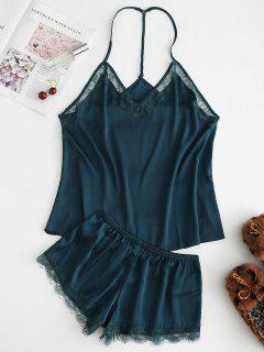 T Back Satin Cami Top And Shorts Pajama Set - Deep Green