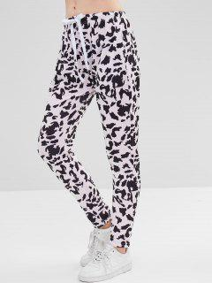 Cow Print Skinny Pants - Sakura Pink L