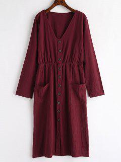 V Neck Buttons Embellished Dress - Red Wine M