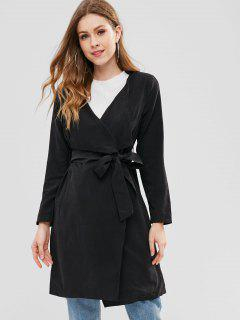 Belted Open Front Trench Coat - Black L