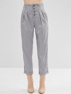 Button Up Checked Tapered Cigarette Pants - Gray S