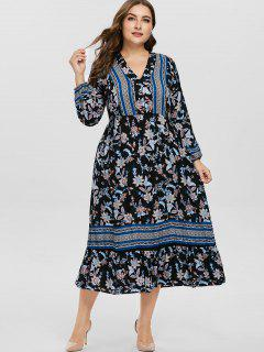 Long Sleeve Plus Size Floral Plunge Dress - Multi L