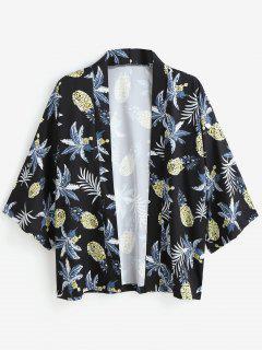Pineapple Print Kimono Jacket - Black M
