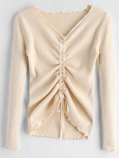 Lettuce Trim Ruched Sweater - Beige