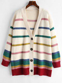 Button Up Striped Loose Cardigan - Beige