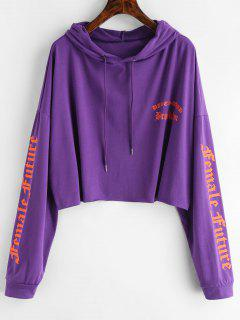 Raw Hem Dragon Graphic Hoodie - Dark Orchid L